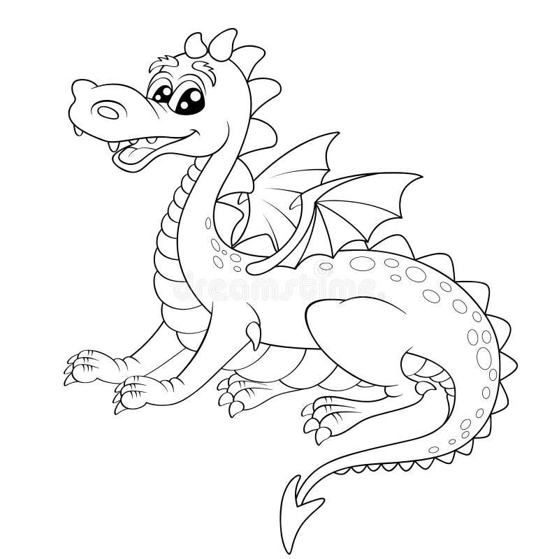 Śliczny kreskówka smok royalty ilustracja