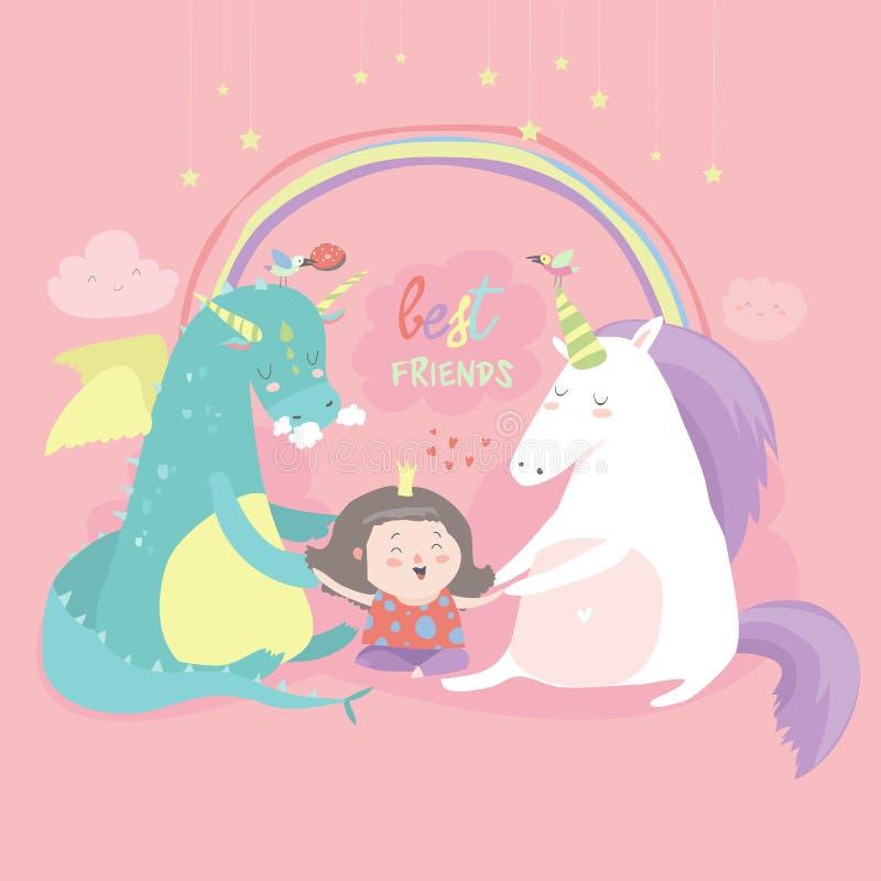 Śliczny kreskówka smok, jednorożec i mała dziewczynka, ilustracja wektor
