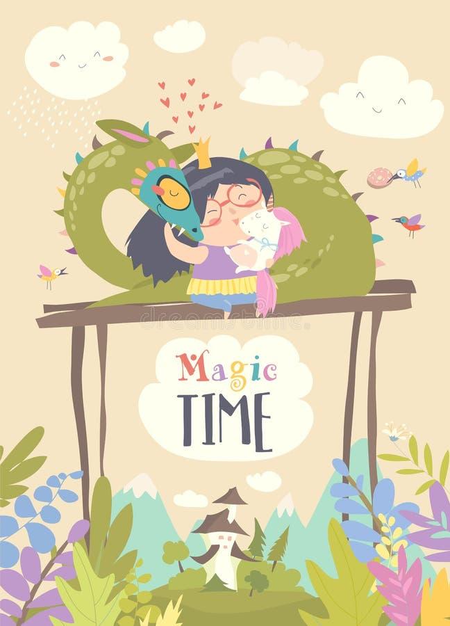 Śliczny kreskówka smok, jednorożec i mały princess, ilustracja wektor
