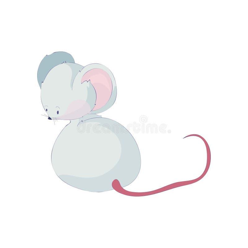 Śliczny kreskówka szczur siedzi daleko od i patrzeje t?a ilustracyjny rekinu wektoru biel royalty ilustracja