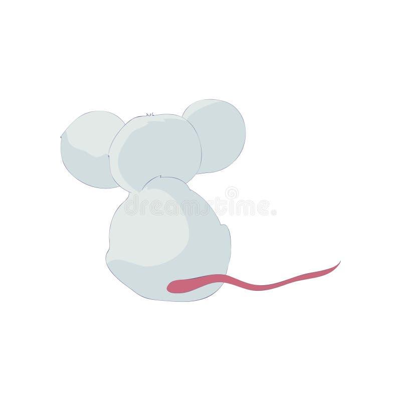 Śliczny kreskówka szczur siedzi widok z powrotem t?a ilustracyjny rekinu wektoru biel royalty ilustracja