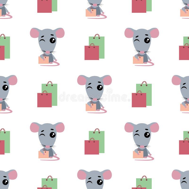Śliczny kreskówka szczura zakupy Bezszwowy t?o Szczurów stojaki obok mrugnięć i pakunków wektor royalty ilustracja