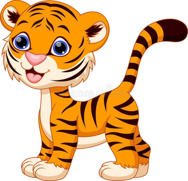 śliczny kreskówka tygrys ilustracji