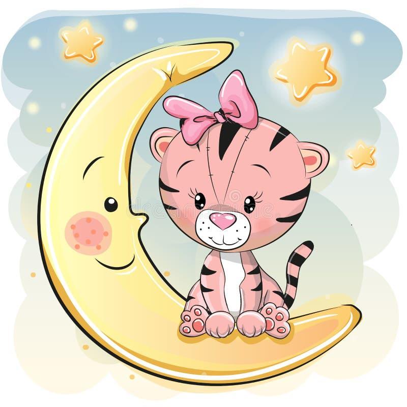 Śliczny kreskówka tygrys na księżyc royalty ilustracja