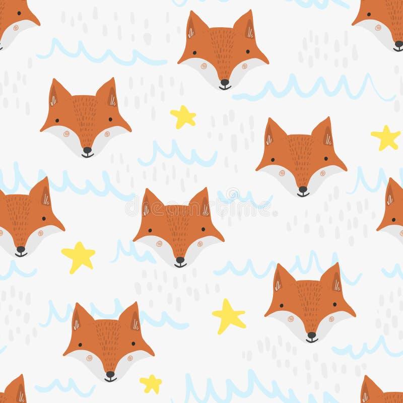 Śliczny kreskówka wzór z foxs, gra główna rolę i macha ilustracji