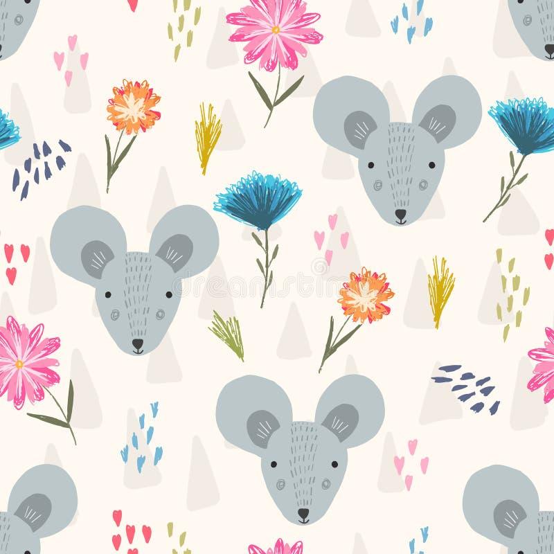 Śliczny kreskówka wzór z myszą przewodzi i kwitnie ilustracja wektor