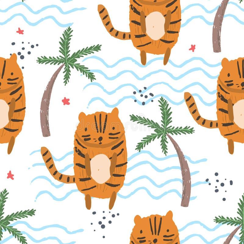 Śliczny kreskówka wzór z tygrysami, palmy, macha royalty ilustracja