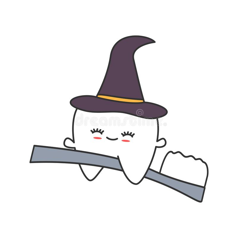 Śliczny kreskówka ząb z czarownicy kapeluszowym lataniem na toothbrush Halloween wektoru śmiesznej ilustraci royalty ilustracja