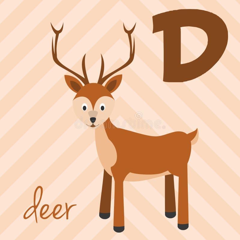 Śliczny kreskówka zoo ilustrował abecadło z śmiesznymi zwierzętami: D dla rogacza royalty ilustracja
