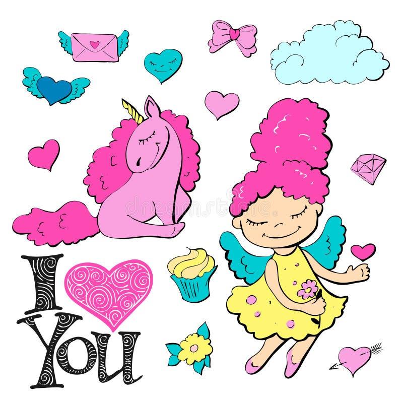 Śliczny kreskówki łaty princess z jednorożec, sercami, kotami i innymi elementami dla dziewczyn, royalty ilustracja