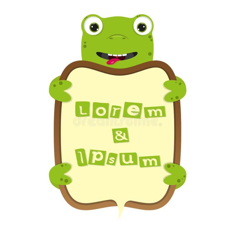 Śliczny kreskówki żaby lub żółwia biznesu ramy rabatowy wektor żartuje sztandar ilustrację ilustracji