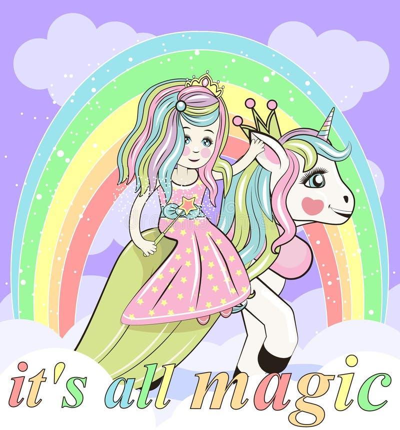 Śliczny kreskówki bajki Princess i jednorożec ilustracja wektor