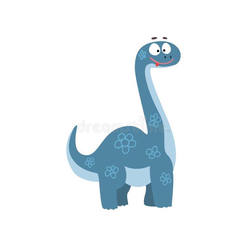 Śliczny kreskówki brontosaurus dinosaur, prehistorycznego Dino charakteru wektorowa ilustracja na białym tle ilustracji