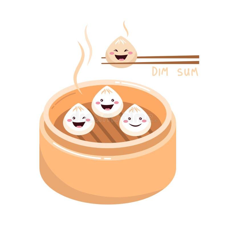 Śliczny kreskówki dim sum z uśmiechać się twarze royalty ilustracja