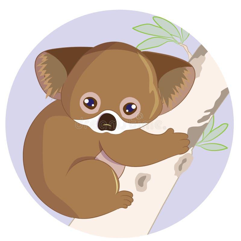 Śliczny kreskówki dziecka koali niedźwiedź wiesza na drzewie, wektorowa ilustracja charakter ilustracja wektor