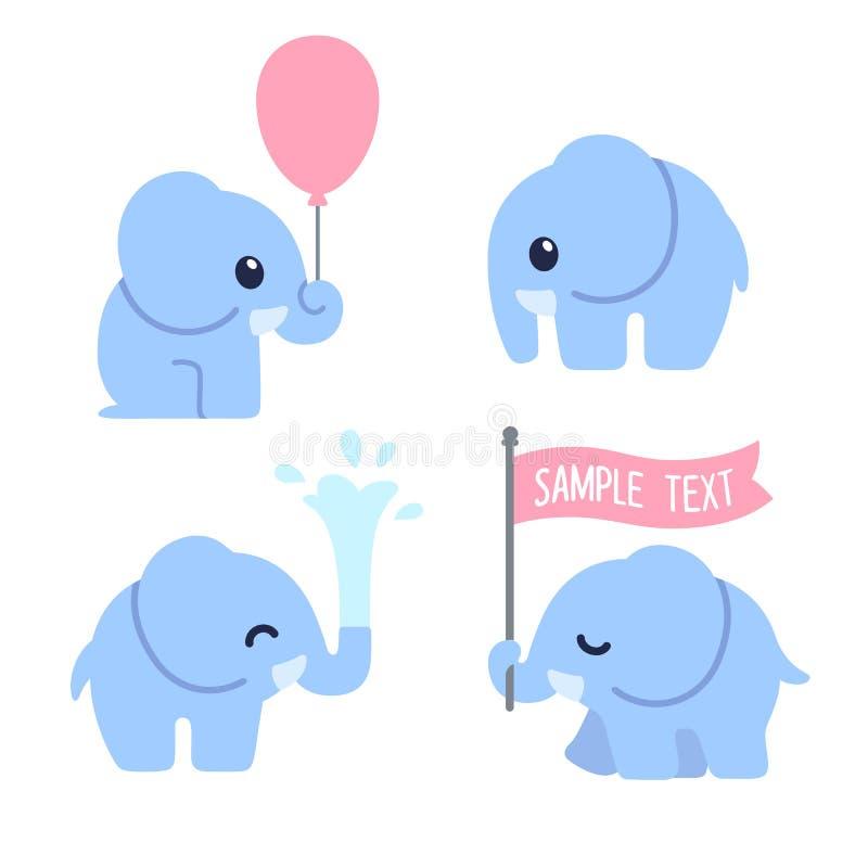 Śliczny kreskówki dziecka słoń ilustracja wektor