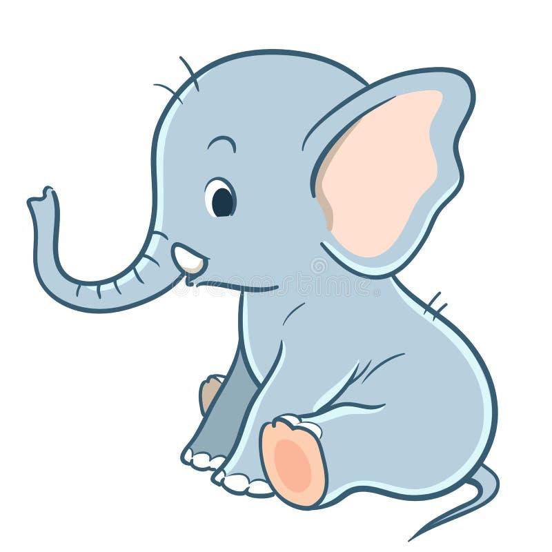 Śliczny kreskówki dziecka słoń ilustracji
