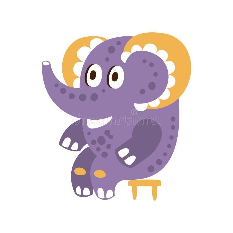 Śliczny kreskówki dziecka słonia charakteru obsiadanie na krzesło wektoru ilustraci ilustracji
