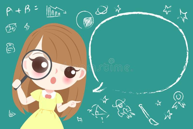 Śliczny kreskówki dziewczyny uczeń ilustracja wektor