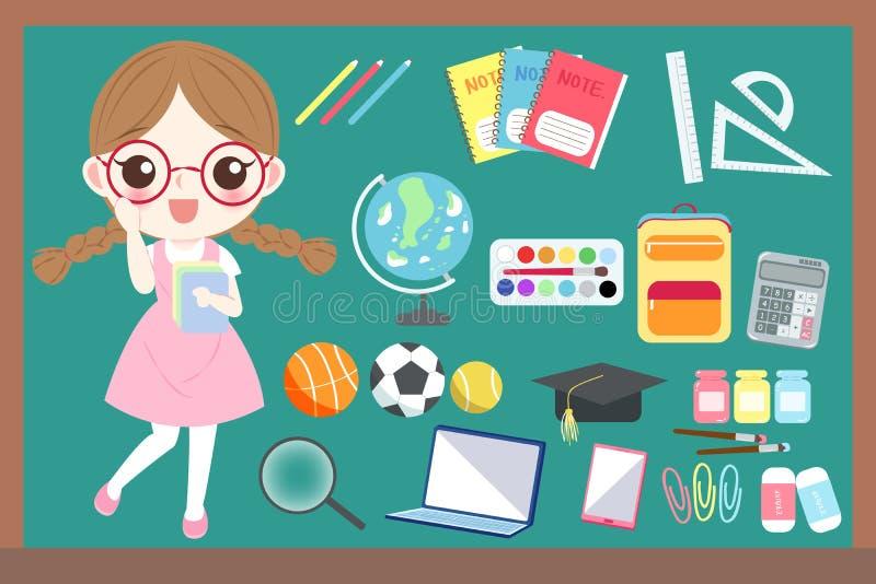 Śliczny kreskówki dziewczyny uczeń ilustracji