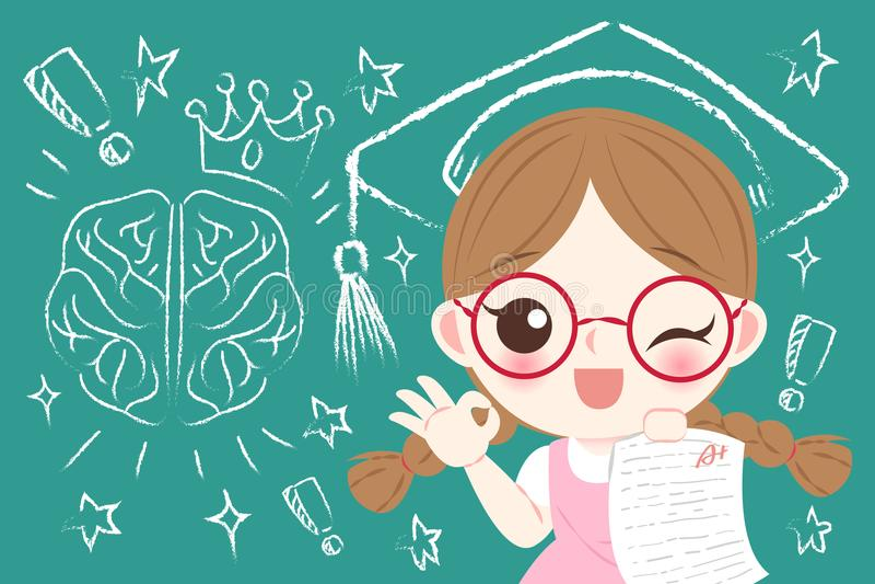 Śliczny kreskówki dziewczyny uczeń royalty ilustracja