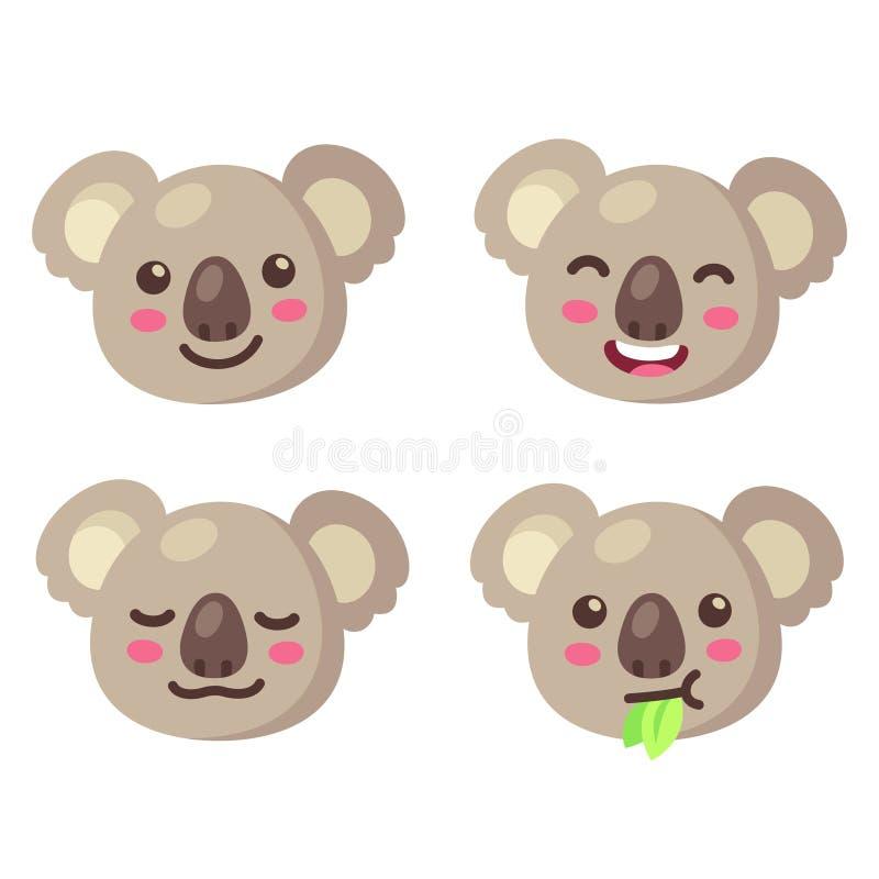 Śliczny kreskówki koali twarzy set ilustracja wektor