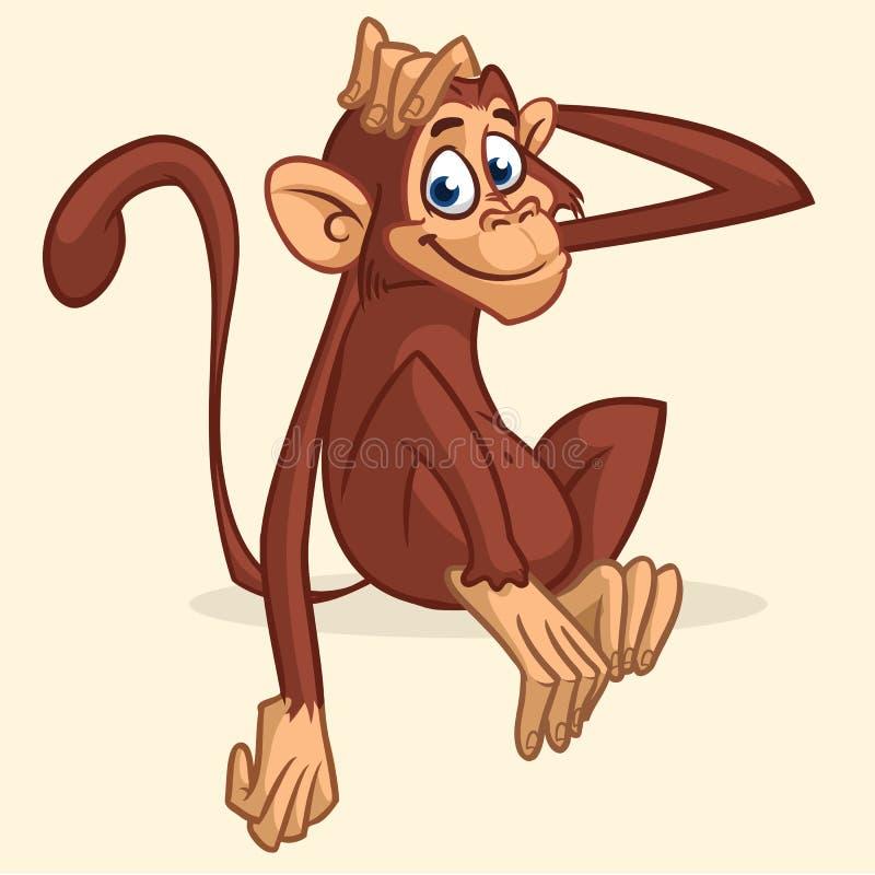Śliczny kreskówki małpy obsiadanie Wektorowa ilustracja rozciąga jego kierowniczego szympans Dziecko majcher lub royalty ilustracja