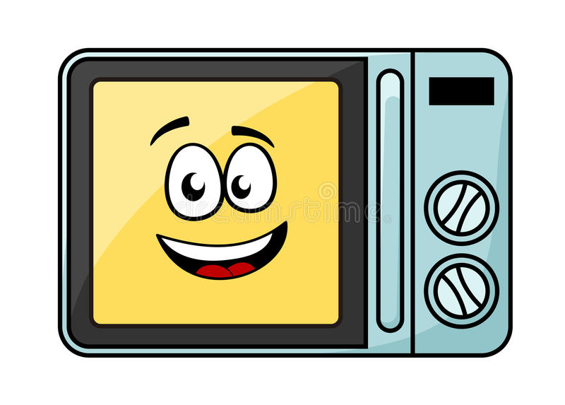 Śliczny kreskówki mikrofali piekarnik ilustracji