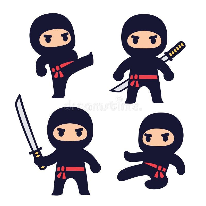 Śliczny kreskówki ninja set royalty ilustracja