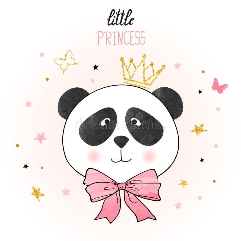Śliczny kreskówki pandy princess royalty ilustracja