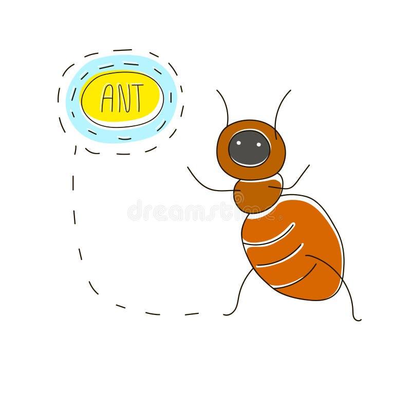 Śliczny kreskówki pojęcie z śmieszną pluskwą: mrówka i imię tekst royalty ilustracja