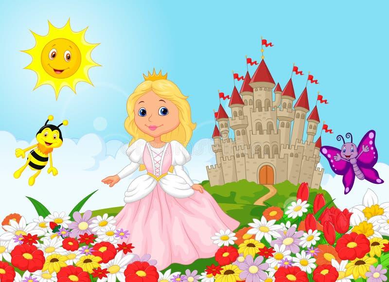 Śliczny kreskówki princess w kwiecistym ogródzie ilustracja wektor