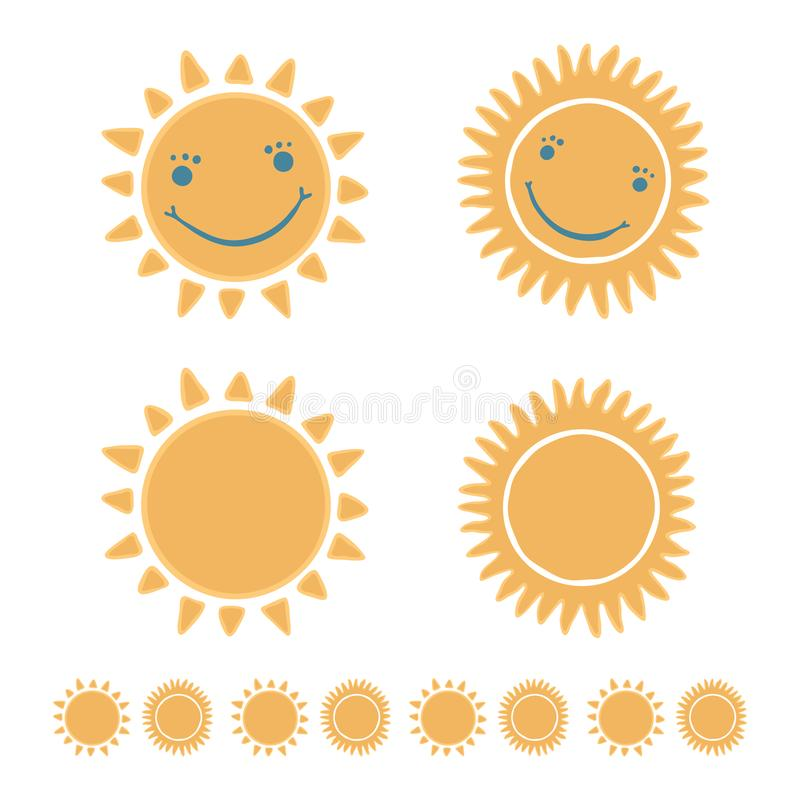 Śliczny kreskówki słońce z szczęśliwą uśmiechniętą twarzy ręką rysującą, ilustracja wektor