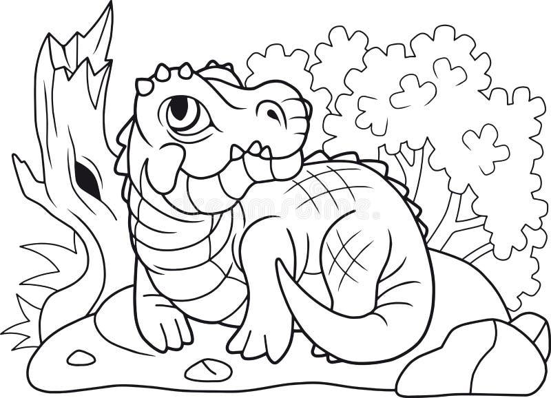 Śliczny krokodyl kłama na brzeg, śmieszna ilustracja royalty ilustracja
