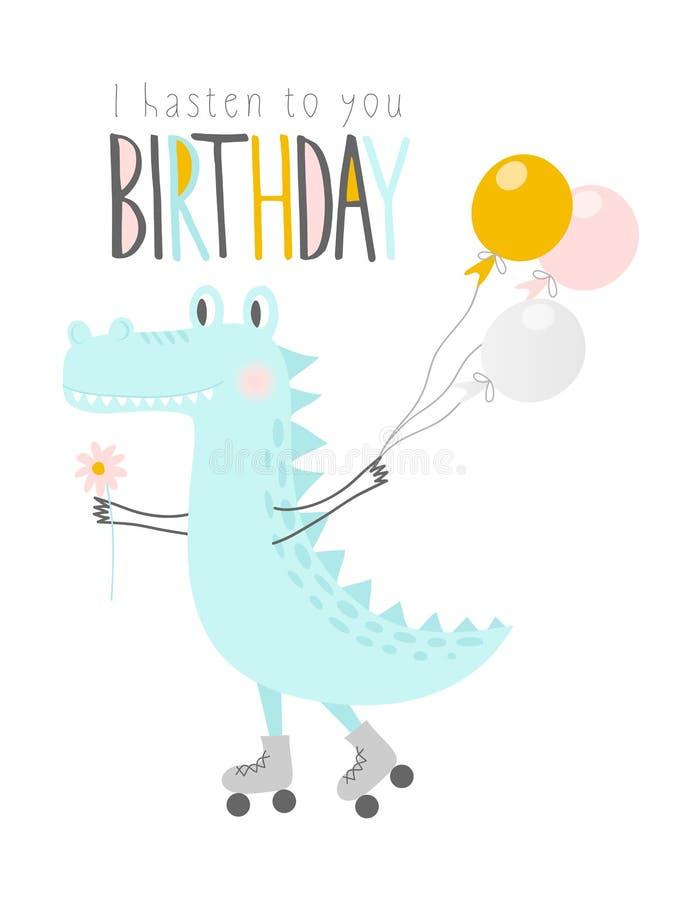 Śliczny krokodyl z balonami i kwiatem na rolownikach szczęśliwy urodziny Kartka z pozdrowieniami, sztandar, plakat również zwróci ilustracja wektor