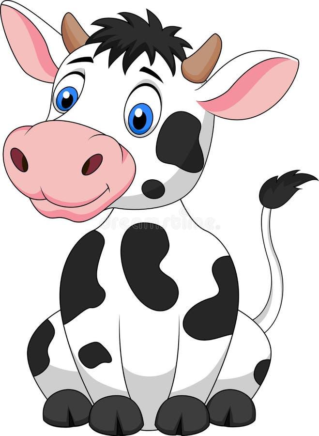 Śliczny krowy kreskówki obsiadanie royalty ilustracja