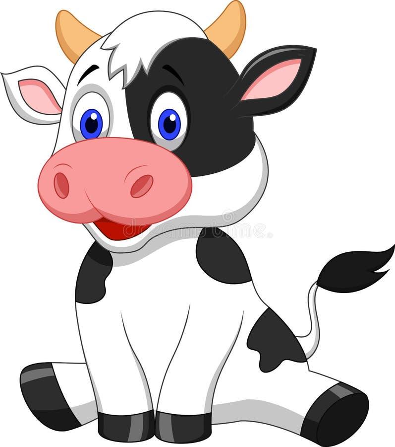 Śliczny krowy kreskówki obsiadanie ilustracja wektor