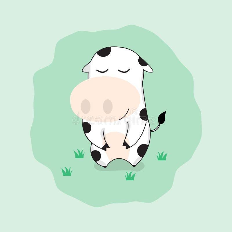 Śliczny krowy postać z kreskówki Szczęśliwy śmieszny krowy koszulki grafika vec royalty ilustracja