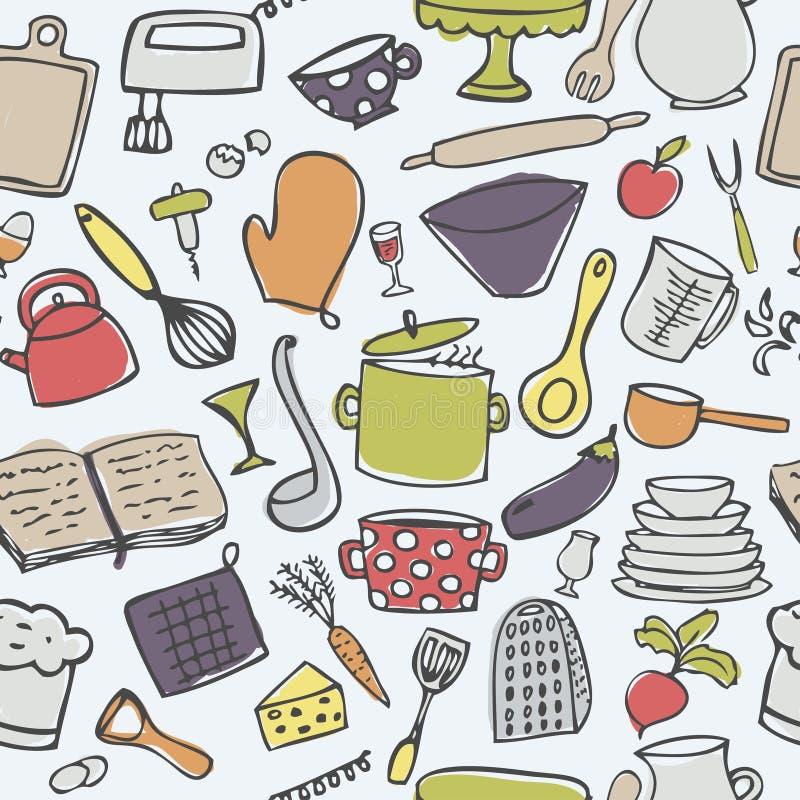 Śliczny kuchenny bezszwowy wektoru wzór obrazy stock