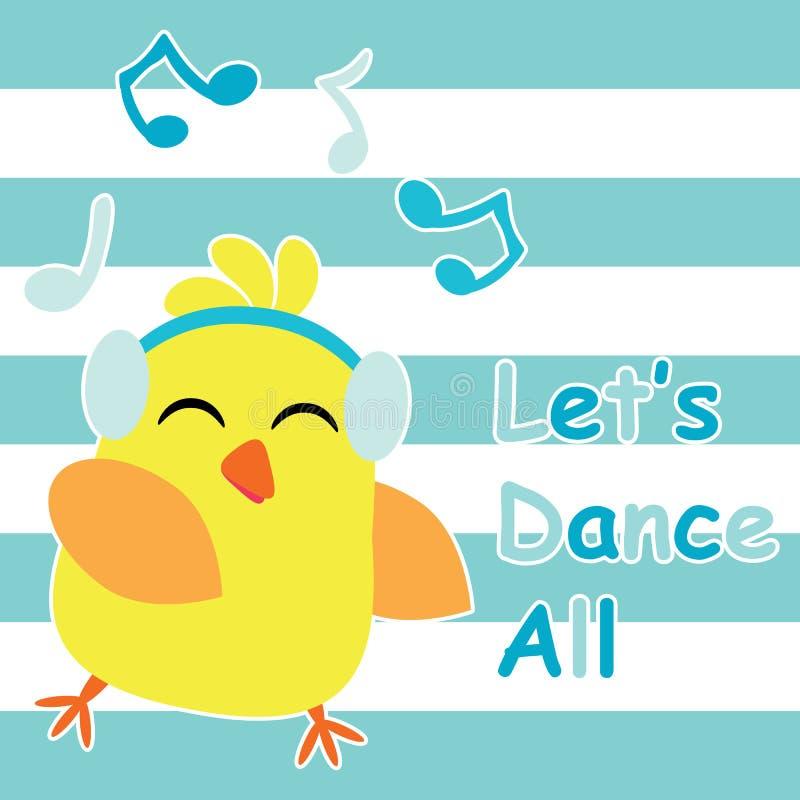Śliczny kurczątko tanczy z muzyczną kreskówką, dziećmi pocztówki i koszulka projektem dla dzieciaków, ilustracji