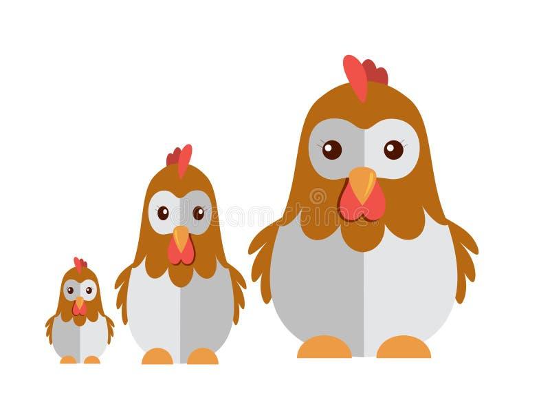 Śliczny kurczak na białym tle ilustracji