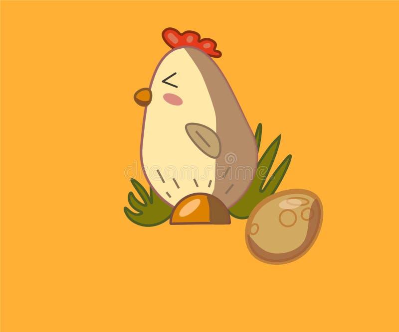 śliczny kurczak z jajkiem na żółtym tle zdjęcie royalty free