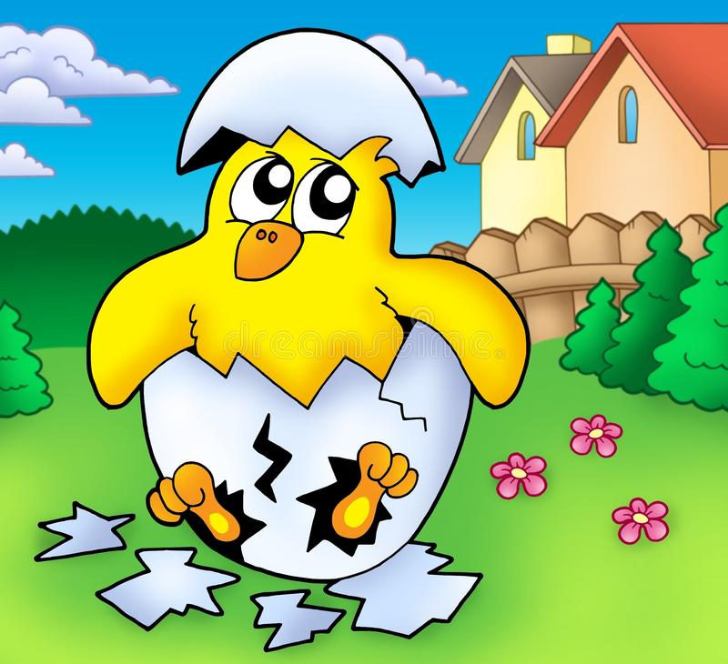 śliczny kurczaka ogród ilustracja wektor