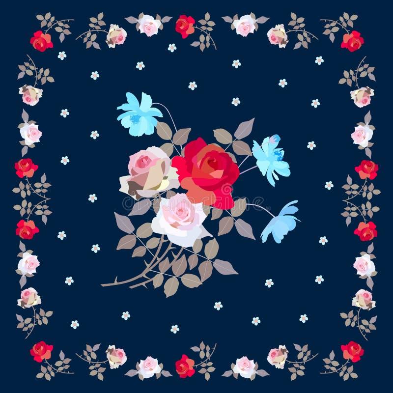 Śliczny kwadrata wzór z bukietem róże i kosmos kwitnie na zmroku błękitny tło i kwiecista rama - royalty ilustracja