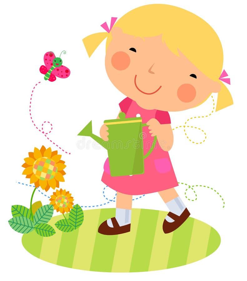 Śliczny kwiat i mała dziewczynka royalty ilustracja