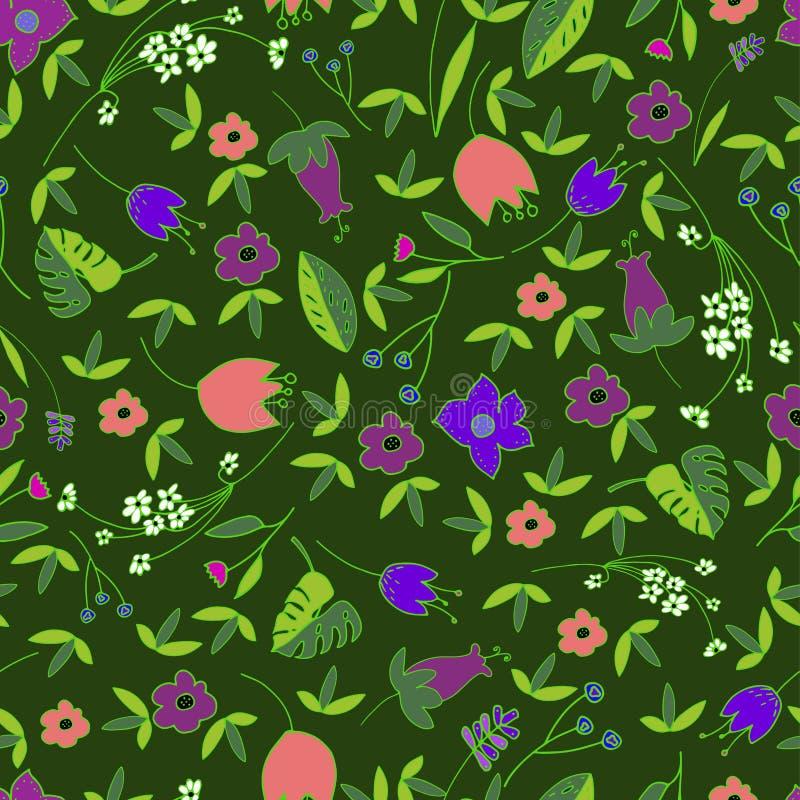Śliczny Kwiecisty Bezszwowy wzór z ręka rysującymi doodle kwiatami i liście w kreskówce projektujemy Dziecięcy szczęśliwy tło dla ilustracji