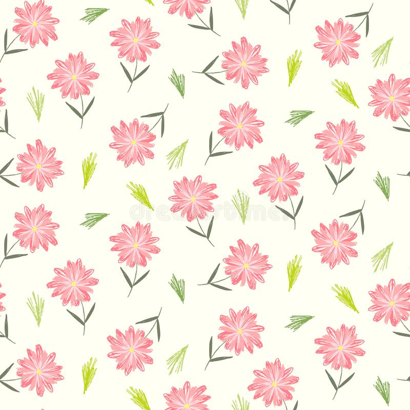 Śliczny kwiecisty wzór z dziecięcymi różowymi kwiatami royalty ilustracja