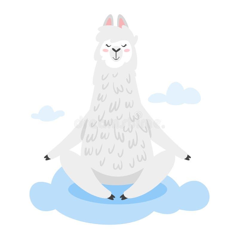 Śliczny lama Alpagowy zwierzę ilustracja wektor