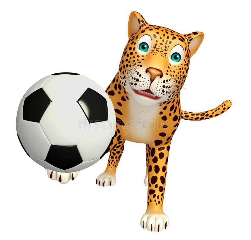 Śliczny lamparta postać z kreskówki z futbolem ilustracja wektor