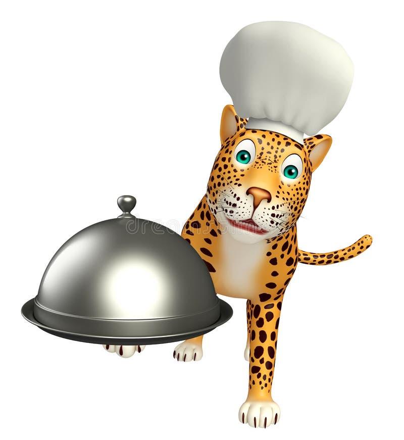 Śliczny lamparta postać z kreskówki z szefa kuchni cloche i kapeluszem royalty ilustracja